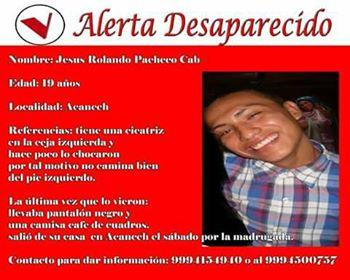 piden ayuda para localizar a Jesús Rolando Pacheco Cab, de Acanceh