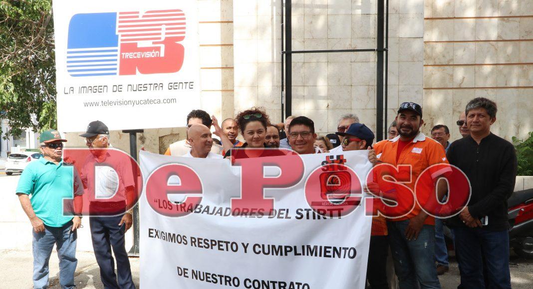 protestan trabajadores sindicalizados del Canal 13