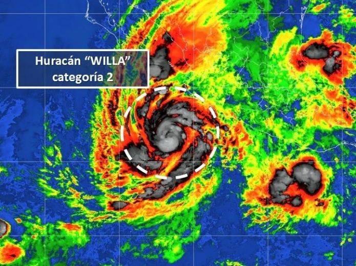 En cuestión de pocas horas el huracán Willa, que avanza por el Océano Pacífico, pasó de categoría 1 a 2.