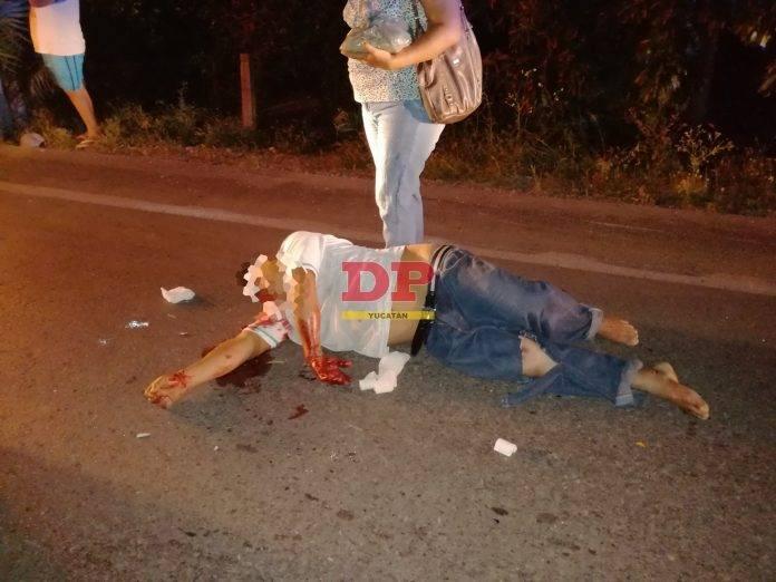 El guiador del triciclo chocado por alcance quedó mal herido.