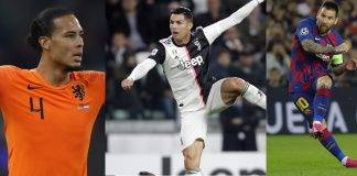 De izquierda a derecha; el holandés Virgil van Dijk, del Liverpool; Cristiano Ronaldo, portugués de Juventus, y Lionel Messi, argentino del Barza