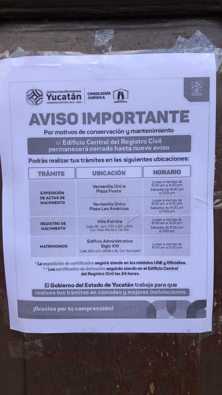 Tome Alternativas Registro Civil Del Centro De Mérida