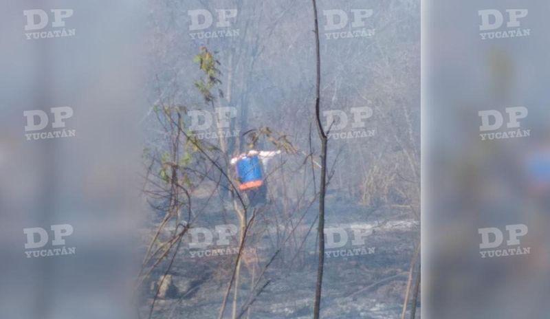 Incendio en Motul a consecuencia de las inusuales muy altas temperaturas