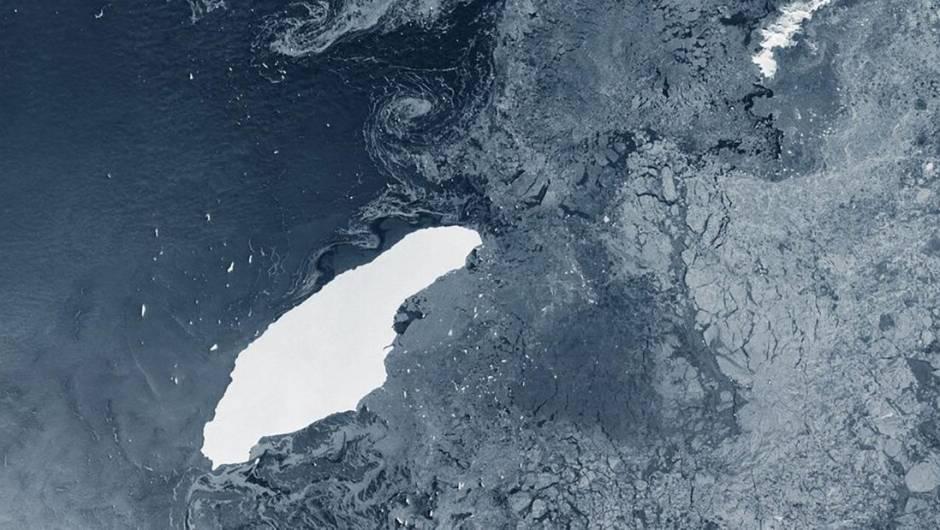 Iceberg A68a visto desde el espacio