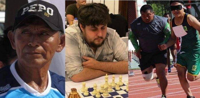 De izquierda a derecha: Pedro Pool, promotor deportivo; Luis Ibarra, ajedrecista; y Russel Tuz, entrenador