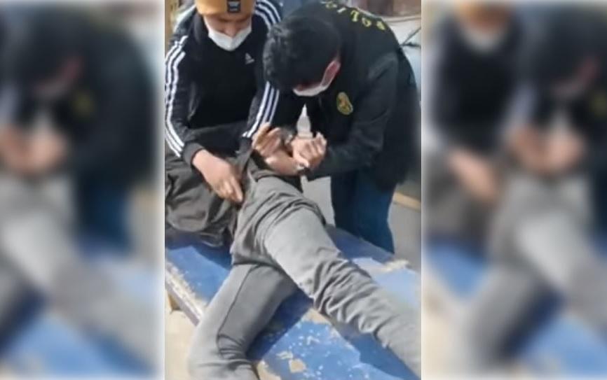 Momento del arresto del asesino confeso