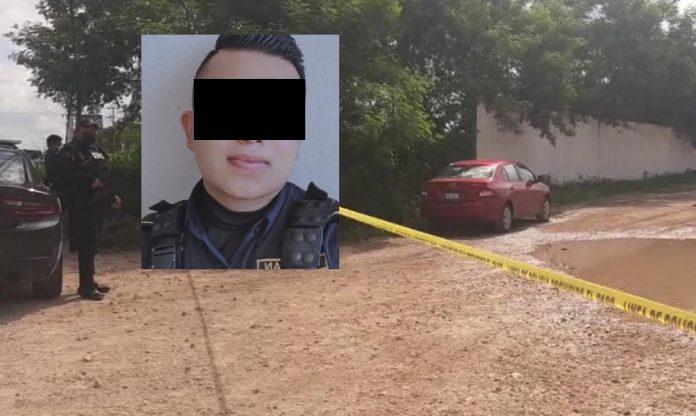 En la foto, el auto Yaris abandonado por los criminales, y en recuadro el oficial al que ultimaron.